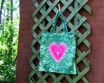 Cotton Tie Dye Market Tote Bag - with Short Handles - Forest Heart