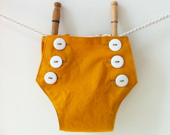 Vintage Style Nautical Bloomers - Mustard Yellow Baby Boy Baby Girl Diaper Covers