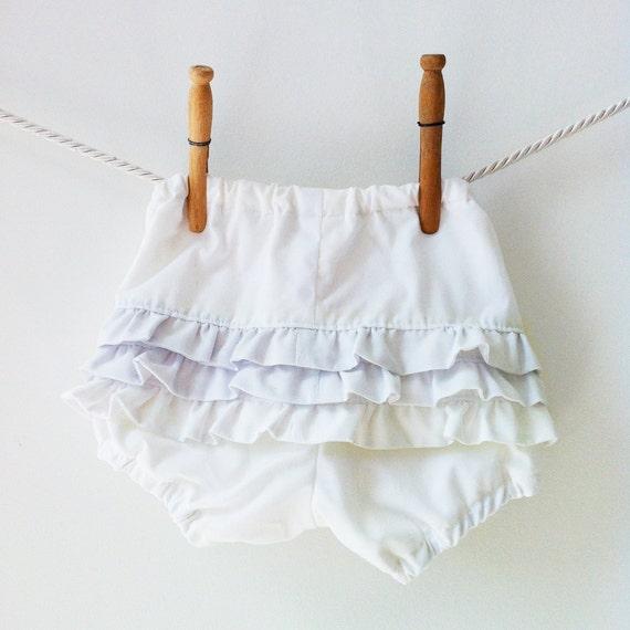 White Ruffle Baby Bloomers, Ruffle Diaper Covers, Baby Girl Ruffle Bloomers, Cotton White Bloomers, Christening Bloomers, Baptism Bloomers