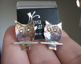 Tiny owls on a branch - post earrings in copper or bronze on sterling silver