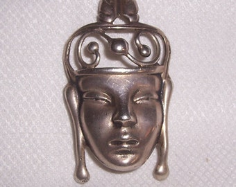 Vintage Sterling Asian Woman's Face  Brooch or Pin - test