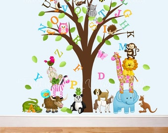 Fabric WALL DECALS Animal Alphabet Tree Children's Bedroom Playroom Baby Nursery Kids Wall Art Decals