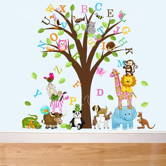 Items similar to fabric wall decals animal alphabet tree for Alphabet wall mural