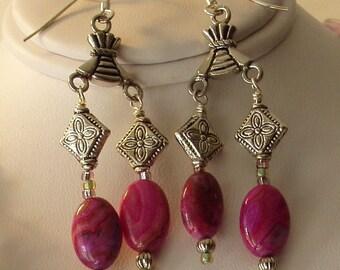 Pink Jasper and Silver Earrings