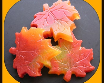 MAPLE LEAVES SoAP - Art Soap - Home Decor - Gift - Varigated - Unique - Fresh Fallen Leaves Scented - Autumn - Nature - Red Yellow Orange