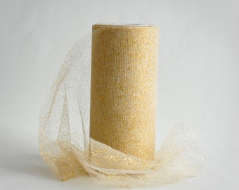 Metallic Gold Tulle Spool, 6 inches wide, 25 yards