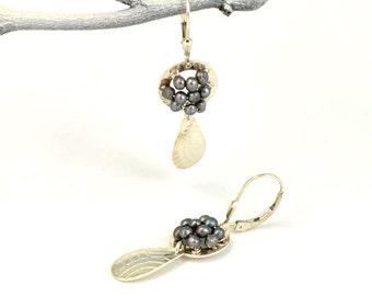 Gray Pearl Earrings, Dangle Earring, Handmade Earring, Gift for Her, Leverback Earring, Gift Under 75
