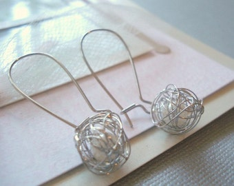 Love Knot Earrings Tangled Ball Earrings Wire Wrapped Pearls Caged Pearl Earrings Silver Tangled Pearl Earrings Jewelry