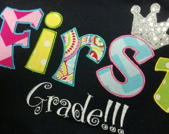 Boutique Custom Personalized Girls 1st First GRADE School ROCKS Shirt Spirit Teacher Adult Name Included