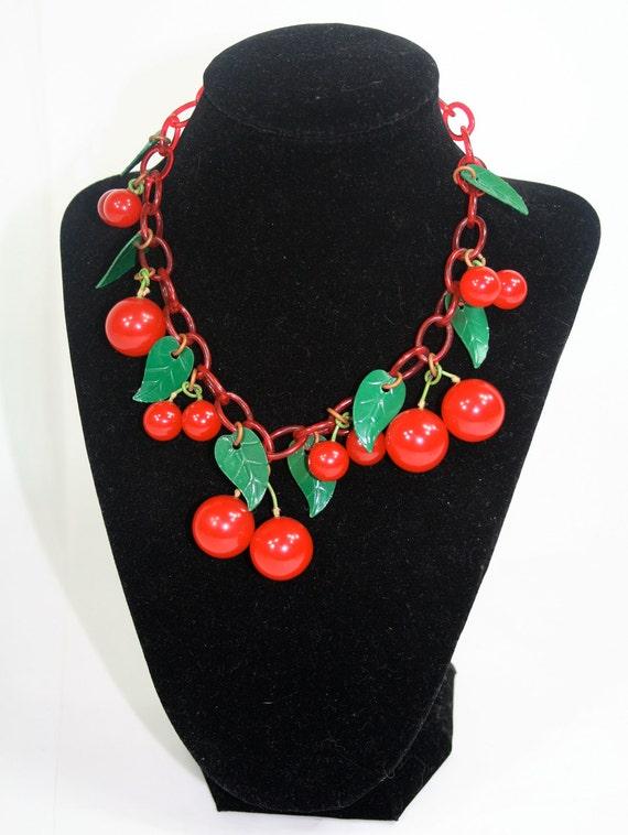 SALE Vintage Bakelite Cherry Necklace