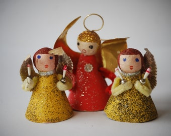 Vintage Christmas Angel Ornaments, Made in Japan