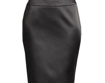Bridal satin pencil skirt, Custom Fit, Handmade, Fully Lined