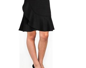 Black Ruffled Wrap-Effect Skirt