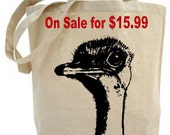 Eco friendly .. Ostrich tote bag - Canvas tote bag