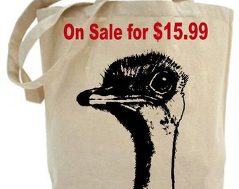 Eco friendly .. Ostrich tote bag - Canvas tote bag