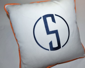 EMBROIDERY MONOGRAM PILLOW - New Style and Colors - White Sunbrella - Indoors or Outdoors
