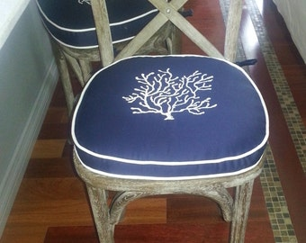 embroidery coral monogram pillow blue sunbrella white linen cotton custom bar stool pillow