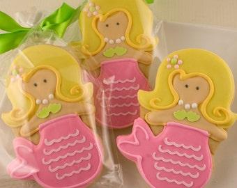 Mermaid Cookies - 12 Decorated Sugar Cookie Favors
