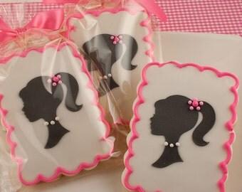 Girl Silhouette Cookies - 12 Decorated Sugar Cookies