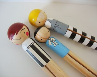 handmade wood folk art giant round clothespin dolls... fable sisters