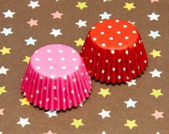 Tiny Polka Dot Red & Pink Cupcake Liners