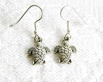 Tiny Turtle Pierced or Clip On Earrings
