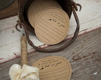 Wedding Advice cards on Kraft paper- Wedding Guest Book- Bridal Shower Game Cards
