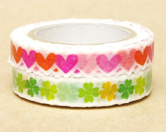 NamiNami Washi Masking Tape - Hearts & Clovers - Slim