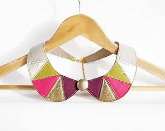 Peter Pan Collar Pink Green Metallic Gold Leather Necklace Geometric Jewelry Detachable Collar