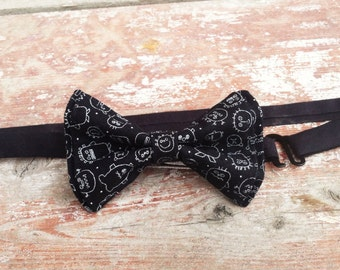 Halloween Ahh Monsters Adjustable Strap Bow Tie Adult - Bow Tie -Bow Ties Toddler - Bowtie - Mens Bow Tie - Black Bow Tie -  Monster Tie