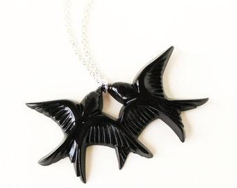 Black resin swallow love birds silver necklace