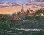 The North Lights, Copper Harbor, MI - hand pulled woodblock print