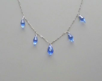 Art Deco Necklace. Blue Glass Drops. Peanut Chain.