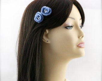 PIF crochet blue flower hair clip x 2