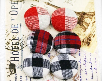 "Checkered squares - fabric covered button ear studs, set of 3 -  3/4"", 19mm (BS)"