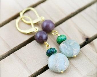 Decency and vitality earrings - aventurine, and jasper