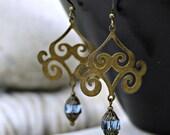 Bohemian Chandelier Earrings - Sapphire Blue, Antique Brass, Silk Road, Dangle, Women's Jewelry, Boho, Bohemian Czech Glass, Blue