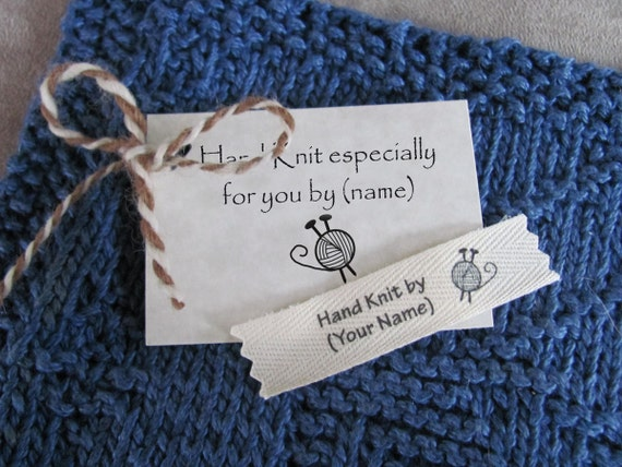 Knitting Labels Custom : Personalized knitting labels small size label tag combo
