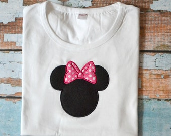 Minnie Mouse Shirt, Minnie Mouse Embroidered Shirt, Girls Minnie Mouse Shirt, Pink Polka Dot Minnie Mouse
