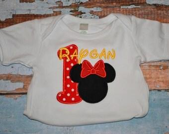 Girls Birthday Minnie Mouse Shirt, Girls Birthday Shirt, Red Polka Dot Minnie Mouse