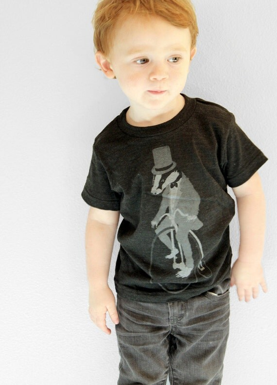 Childrens Badger on a Bike - Kids Tee - American Apparel - 2 4 6 8 10 12