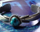 Turquoise  Bracelet Navajo  SterLing Silver  Made Mark   F L BEGAY Navajo High Collectible