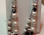 """Shoulder Earrings  Sterling Silver and Genuine Pearls Three Strands with Jet Glass Beads Crystal 3 1/2"""" Long Bridal Statement Earrings"""