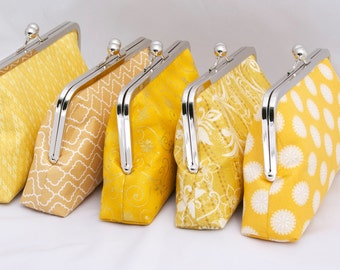 Set of (6) Gold Bridesmaid Clutches Bridal Party Gift Gold Yellow Clutch Handbag for Bridal party - Design your Own in Various Colors