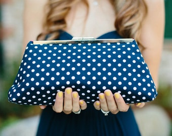 Navy Bridesmaids Gift Wedding Party Gift Clutch Handbag - Design your Own clutch or set of clutches