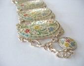 Floral Panel Bracelet Enamel W. Germany 1950's Eloxal