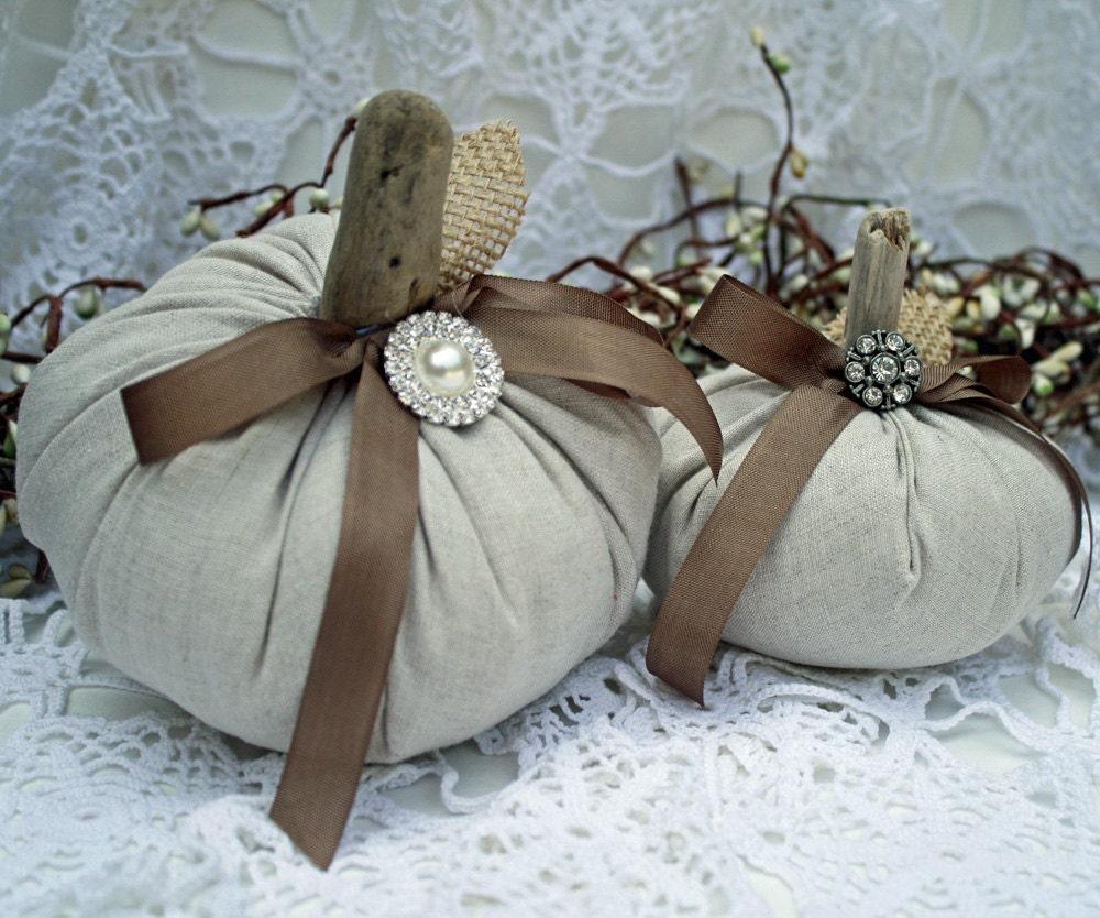Fabric Pumpkins Vintage Linen Driftwood Stems Set of 2