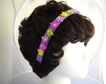 Pearl and Leaf on Purple Silk  Headband