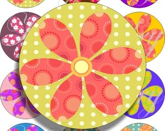 Country flowers large circles for pocket mirrors and more digital collage sheet No.1287