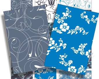 Blue Swirls images for cards, ACEO, ATC, scrapbook and more Digital Collage Sheet 3 X 2 inch No.1299